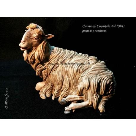 Pecora sdraiata - Presepe napoletano di Cantone & Costabile
